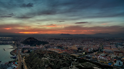 Aerial view of Alicante city at sunset. Spain