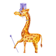 Decorative cute watercolor giraffe with cylinder, tie, cane, glasses cartoon kids illustration isolated on white background, suitable for logo, mascot or character design, baby card, zoo alphabet