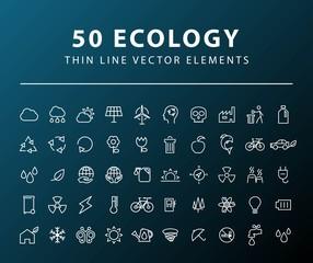 Set of 50 Minimal Thin Line Ecology Icons on Dark Background. Isolated Vector Elements