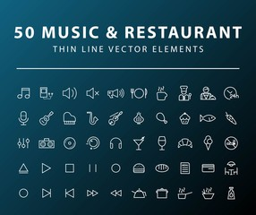 Set of 50 Minimal Thin Line Music and Restaurant Icons on Dark Background. Isolated Vector Elements