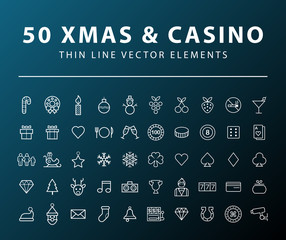 Set of 50 Minimal Thin Line Christmas and Casino Icons on Dark Background. Isolated Vector Elements