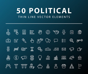 Set of 50 Minimal Thin Line Political Icons on Dark Background. Isolated Vector Elements