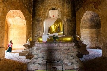 Painted and golden Buddha in Myanmar