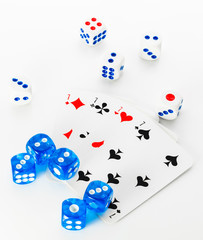 blue and white dices and cards on white background