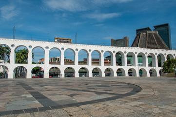 Lapa Arch and Famous Santa Teresa Tram Passing on the Top, Rio de Janeiro, Brazil
