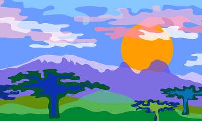 Savanna landscape. Vector illustration.