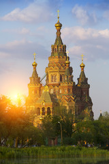 Russia, suburb of Saint Petersburg, the St. Peter and Paul Cathedral