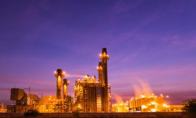 Twilight photo of power plant