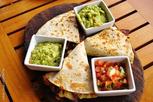 """Cheese quesadillas with guacamole and pico de gallo"" Stok ..."