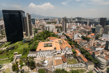 Aerial view of business buildings in Rio de Janeiro city downtown