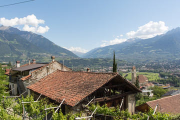 View over an old barn into Meran valley, South Tyrol
