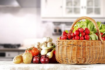 vegetables on wooden table in kitchen space