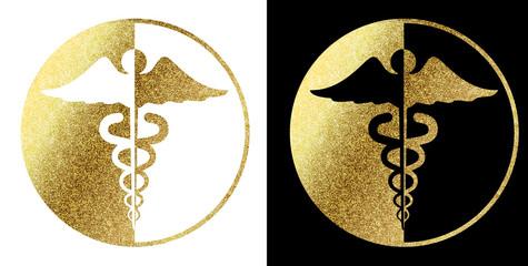 Caduceus Medical Symbol Logo Golden in White and Black background