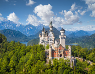 Fototapeten Schloss Neuschwanstein Castle in summer, Bavaria, Germany
