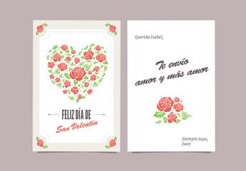 Tarjeta floral para el día de San Valentín