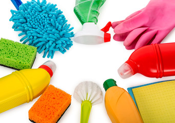 cleaning supplies, top view