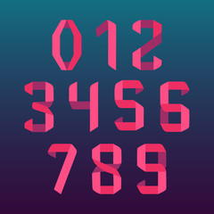 Paper folded numbers set in origami style on blue background. Modern geometric font numerals in pink. Vector illustration.