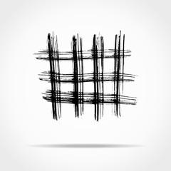 Grunge brush strokes. Grid dry brush texture. Vector illustration