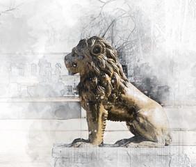 Architectural sketch Lion Sculpture