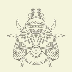 Hand drawn beetle/bug coloring page.