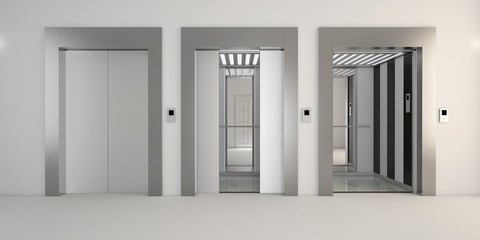 Modern metal elevator with open doors, hall interior