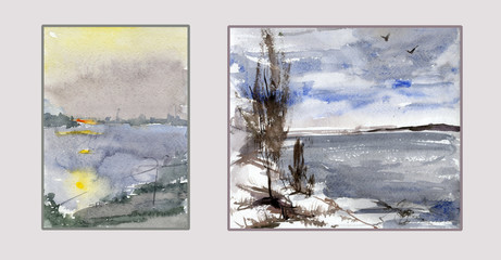 Set of two landscapes. River banks in different seasons. Watercolor painting. Hand drawn. Can be used for greeting cards, as a nature background.