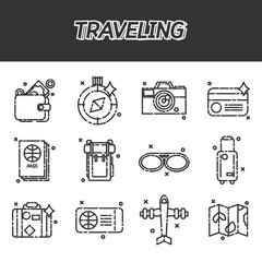Travel Icons Set flat design