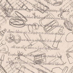 Textile design, wallpaper, faded text, cosmetics seamless pattern on beige background