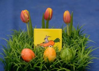 flotter Osterhase, Ostergesteck aus Kunstgras, 3 farbigen Ostereiern, 3 Tulpen und einem Bild eines coolen Osterhasen in einer fahrenden Möhre vor blauem Hintergrund