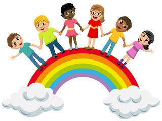 Aluminium Prints Rainbow Multiracial Children kids hand in hand standing rainbow isolated