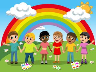 Aluminium Prints Rainbow Multiracial Children kids hand in hand meadow rainbow