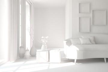 White interior design with sofa