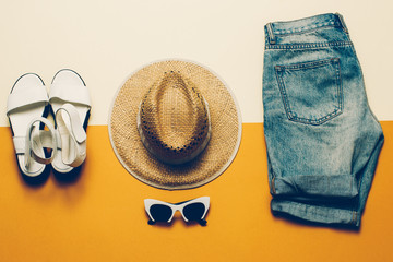 Summer outfit. Shorts Sandals hat Safari style