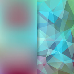 Abstract polygonal vector background. Geometric vector illustration. Creative design template. Abstract vector background for use in design. Blue, green, pink colors.