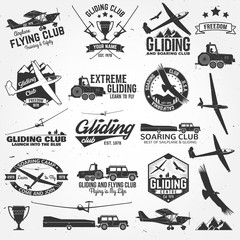 Soaring club retro badges and design elements.