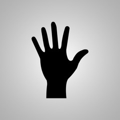 Hand icon on the grey background