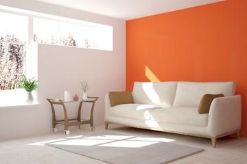 Orange interior design with sofa and winter landscape in window