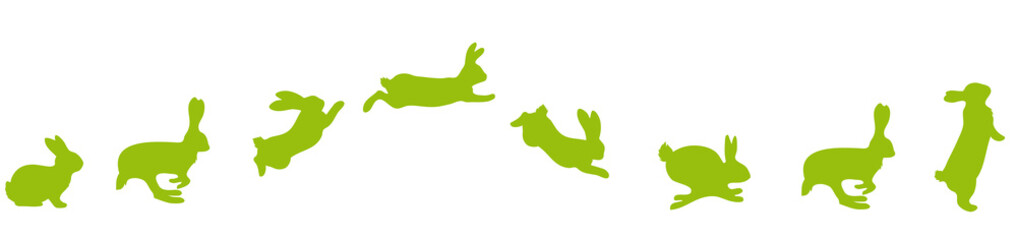 jumping Silhouettes of Easter bunnies green