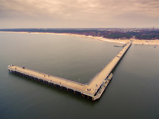 Palanga, Lithuania: aerial top view of Sea Bridge in winter