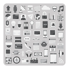 Vector of flat icons, Cloud computing technology set on isolated background