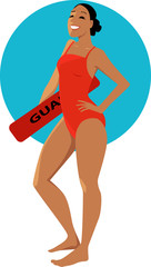 Young woman in a red swimsuit holding a swimming board with a word Lifeguard on it, EPS 8 vector illustration