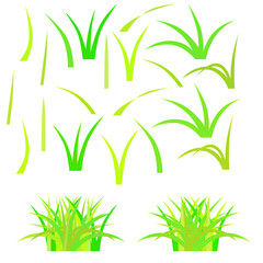 Isolated mosaic grass. Vector illustration. Easy to modify and color.