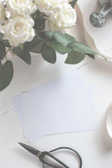 Blank Card With Flower Bouquet.