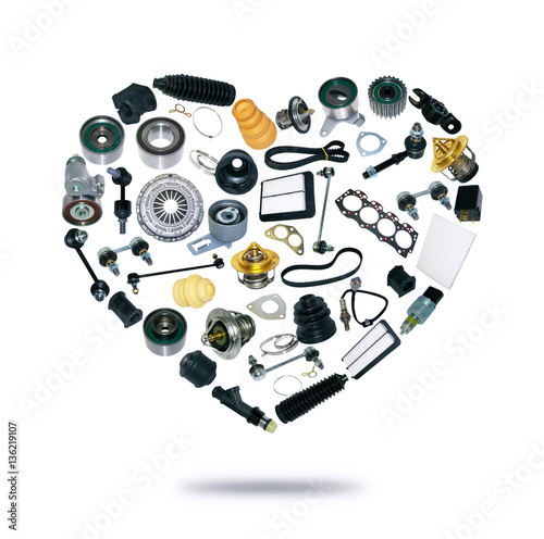 Heart spare auto parts for car on white background. Set with many ...