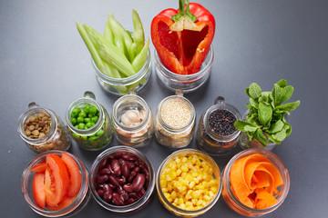 ingredients in jars for vegetable dish