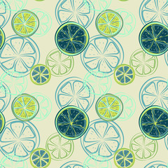 Seamless pattern with abstract slices of lime or other citrus fruits, vector illustration.