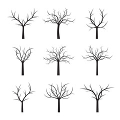 Set Black Trees and Leafs. Vector Illustration.