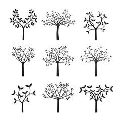 Sert Black Trees and Leafs. Vector Illustration.