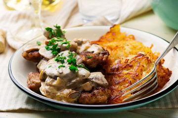Swiss-Style Veal Cutlets with mushroom