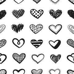 Vector love seamless pattern made of doodle hand drawn hearts. Pattern for design greeting cards on St Valentine's Day.